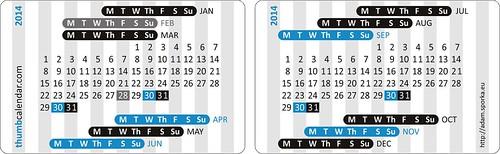 Thumb Calendar 2014