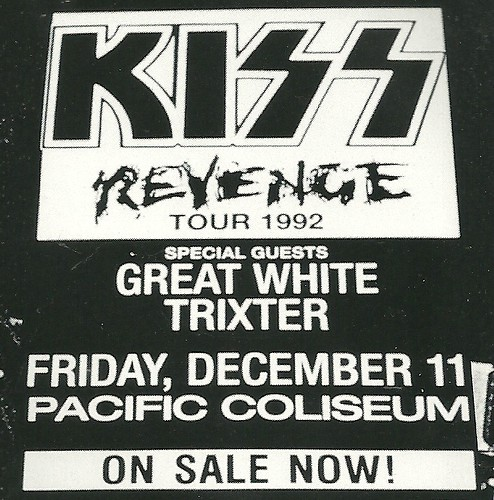 12/11/92 Kiss/ Great White/ Trixter @ Vancouver, BC, Canada