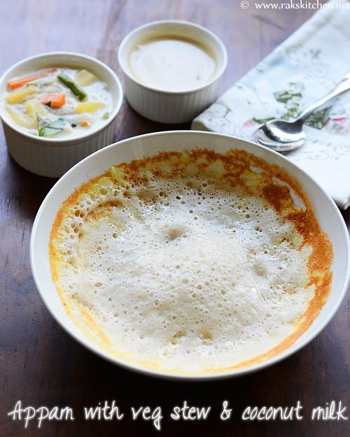 appam with vegetable stew coconut milk breakfast menu 3