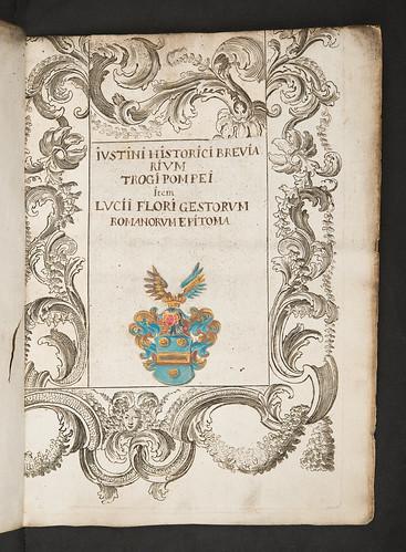 Inserted title-page in Justinus, Marcus Junianus: Epitomae in Trogi Pompeii historias