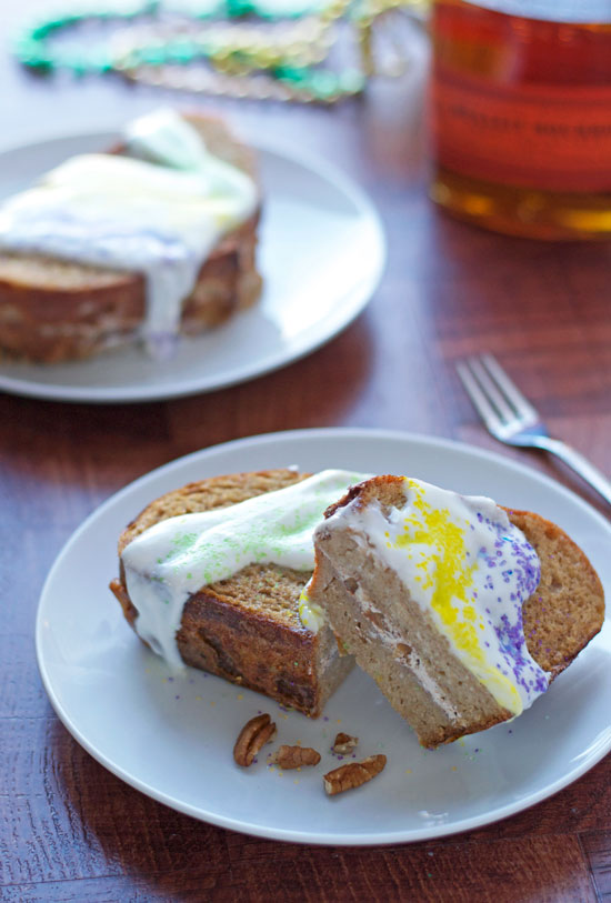 King Cake French Toast Bake Stuffed with Bourbon Pecan Cream Cheese Filling. Fat Tuesday recipe.