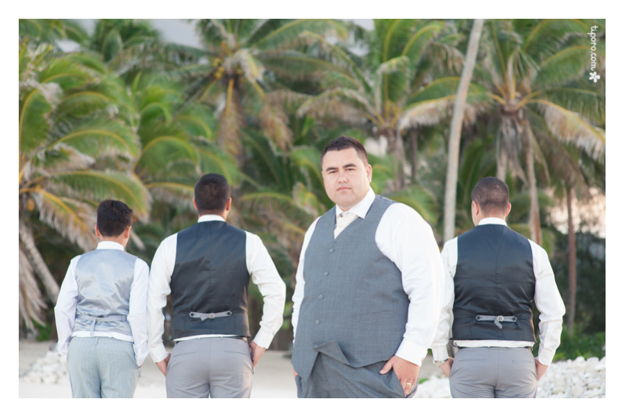 Mike. grooms party photo shoot, beach, Rarotonga