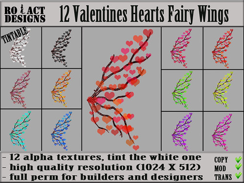 Valentines Hearts Fairy Wings Poster