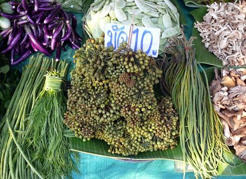 מימין ליד הפטריות: תרמילי מורינגה