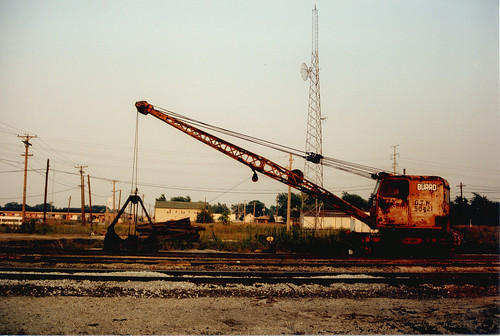 A GTW railroad Burro crane at the site of the now closed Grand Trunk Western Railroad Elsdon Yard.  Chicago Illinois.  September 1986. by Eddie from Chicago