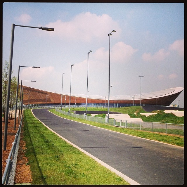 The velodrome - you can see part of the road track and the BMX track in front of it - all three are open to the public now. The mountain bike tracks are still being landscaped and will be open soon. #velopark #london