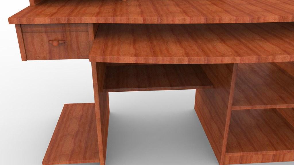 Computer Desk Textured 3d Model