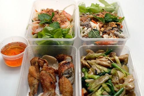 Salads, chicken wings, chicken w ginger