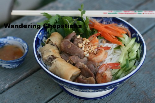Bun Thit Heo Nuong, Tom, Cha Gio (Vietnamese Rice Vermicelli Noodles with Grilled Pork, Shrimp, and Egg Rolls) 10