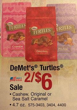 photograph relating to Menards Printable Coupons called DeMets Turtles $2.00 at Menards with Printable Coupon 2/1