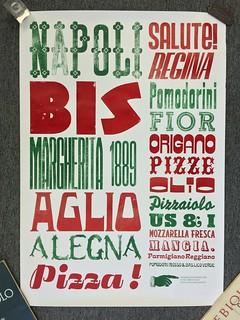 Italian letterpress pizza poster
