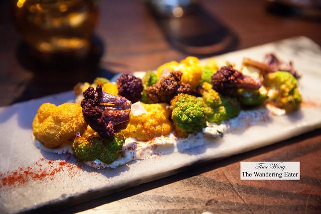 Colorful cauliflower with yogurt and pimenton