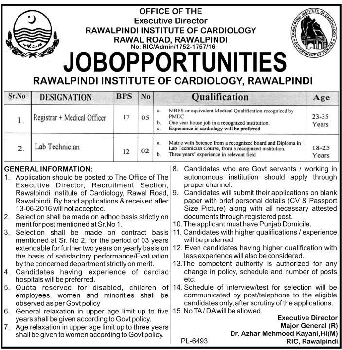 Rawalpindi Institute of Cardiology Jobs 2016
