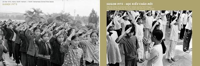 Photo:HANOI 1973 - North Vietnamese School Kids Salute / SAIGON 1975 - Young pupils were learning a new salute. Học kiểu chào mới By manhhai