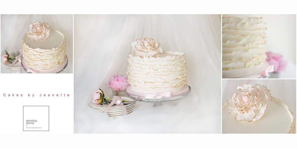 Ruffles Cake with Handmade Peony by Cakes by Jeanette