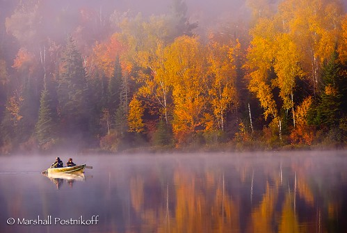 morning mist ontario canada fall boats boat boating northamerica watersports paddling kearney paddleboats fallcolours on fisherlake boattransportation