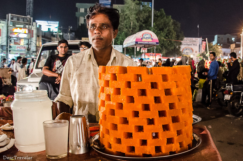 Kopra Pak or coconut sweets at Ramadan night market Charminar