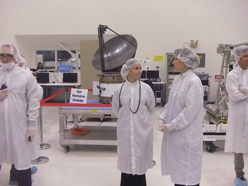 ISS-Rapidscat antenna with Mechanical Engineer Julie Stalder and Radar Performance Engineer Dragana Perkovic