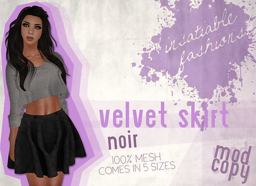 [IF] Lazy Sunday Item: Velvet Skirt in Noir