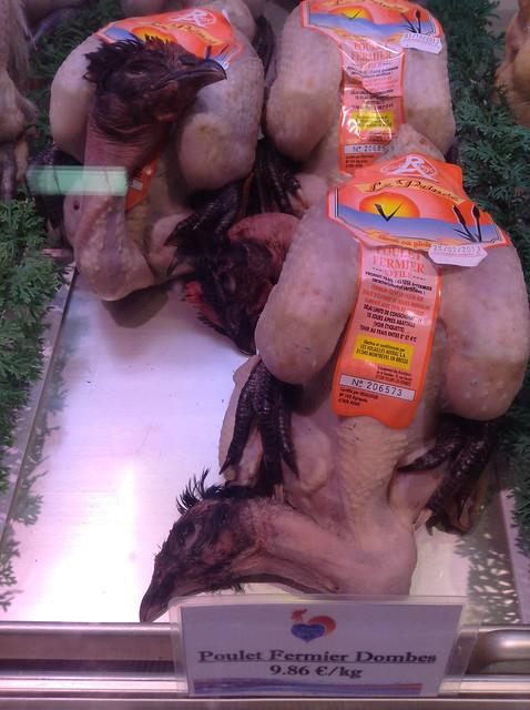 Chicken with heads - Les Halles de Lyon Paul Bocuse