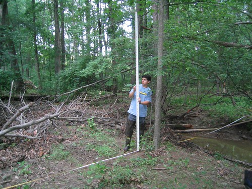 Image of DEP staff member performing a stream channel survey.