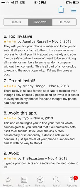 Negative reviews of iPhone app Melt