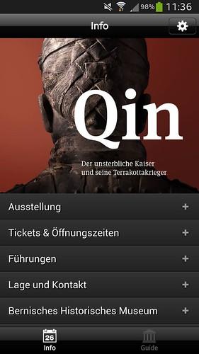 Screenshot vom Startbildschirm der Qin-App