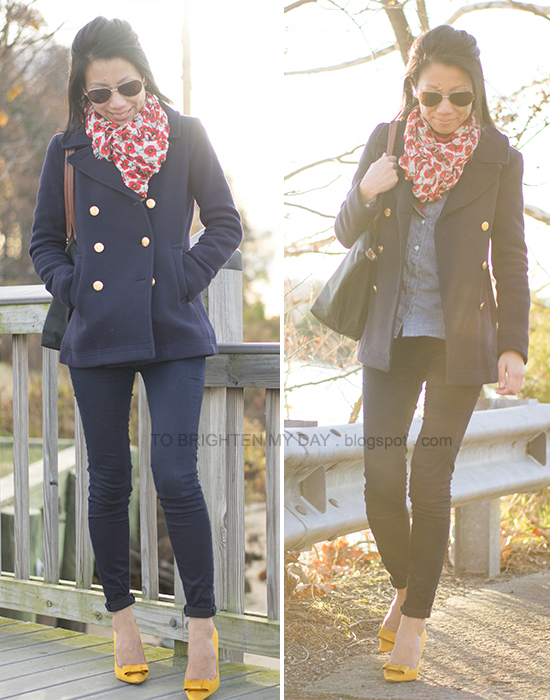 floral scarf, navy peacoat, marigold bow pumps