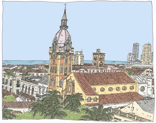 sketch colombia drawing dessin unesco cartagena croquis carnetdevoyage colombie urbansketch urbansketchers urbansketcher