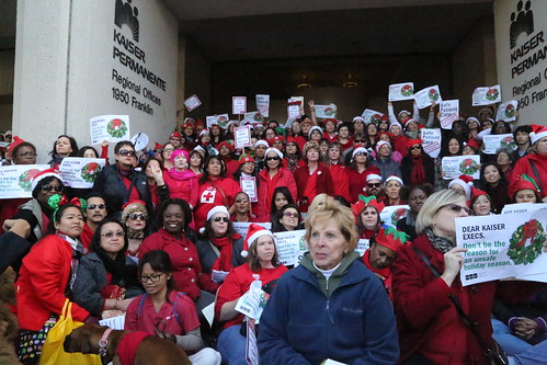 Nurses and seniors protest at Kaiser HQ
