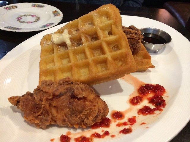 Fried chicken and waffles - Mission Bowling Club