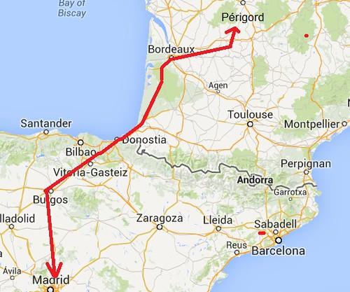 Mapa del roadtrip a Aquitania