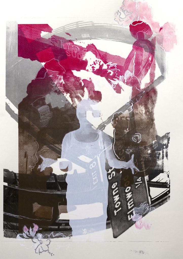 "Heavena Bristow The Walk-On 22"" x 30"" Monoprint. Ink, and paint 2013"