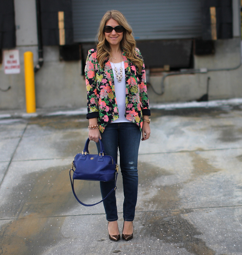 Anthropologie Botanic Blazer bright floral blazer outfit