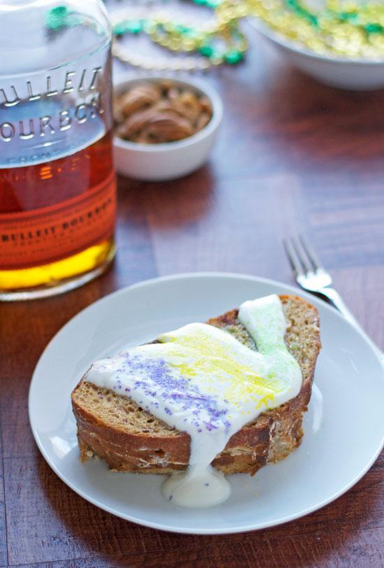 King Cake French Toast Bake Stuffed with Bourbon Pecan Cream Cheese
