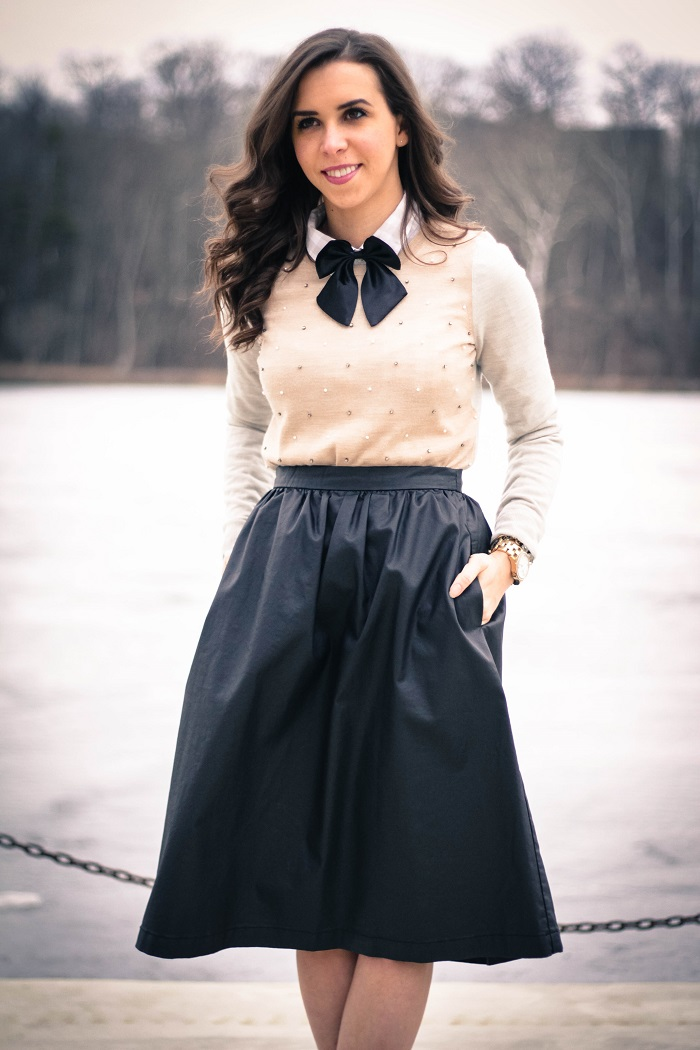 va darling. dc blogger. virginia personal style blogger. faux leather midi skirt. beaded sweater. women's bow tie. nude pumps. 5