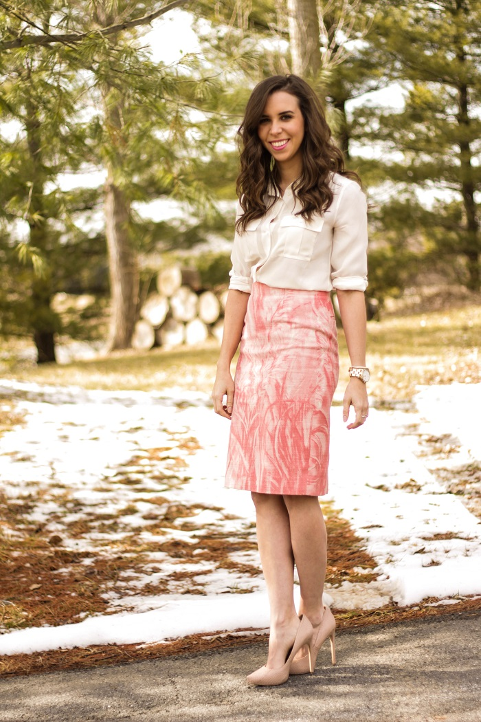 va darling. dc blogger. virginia personal style blogger. dc style. printed skirt. nude heels. white silk blouse. 1