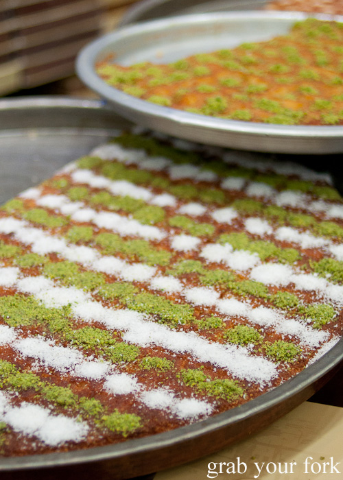 Lebanese kunafa cheese pastry with sugar pastry on a Frying Pan Adventures food tour in Dubai