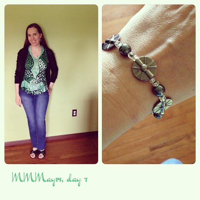Me-mades: Cake Hummingbird top, bracelet. Also thrifted jeans, Hotter sandals, H&M cardigan, jewelry from Etsy (my wedding jewelry!) #mmmay14