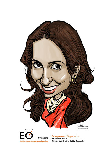 Katty Douraghy digital caricature for EO Singapore
