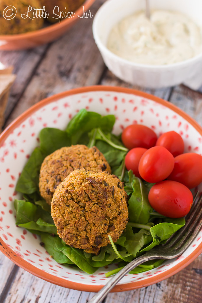 BAKED QUINOA FALAFEL WITH HOMEMADE TAHINI SAUCE