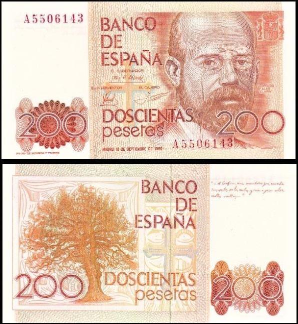 200 Pesetas Španielsko 1980-84, Pick 156