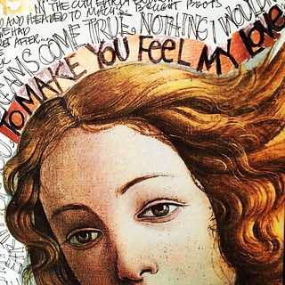 """#ArtJournalEveryDay: cut out of Venus by Botticelli on an altered book page..  I've been listening over and over to Adele's version of """"TO MAKE YOU FEEL MY LOVE"""" and I have been totally inspired by its haunting and sweet melody.. Thinking of my little guy"""