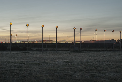 twilight urbanlandscape landinglights adelaideairport