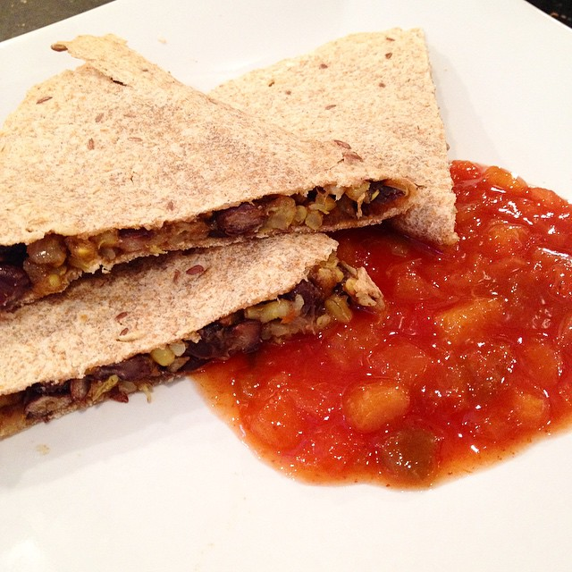 Lunch: Rice and Bean Quesadilla w. Peach Salad #vegan #vegansofig #veganfoodshare #whatveganseat