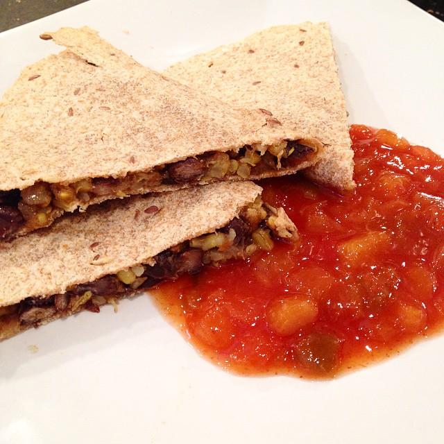 Lunch: Rice and Bean Quesadilla w. Peach Salad #vegan #vegansofig #veganfoodshare #whatveganseat