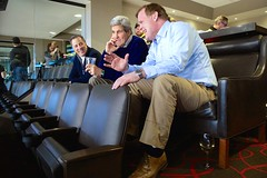 U.S. Secretary of State John Kerry sits with Canadian Foreign Minister John Baird and Mexican Foreign Secretary José Antonio Meade in TD Garden in Boston, Massachusetts, as they watched the Boston Bruins-Los Angeles Kings game following a North American Ministerial meeting involving the three in the Secretary's hometown on January 31, 2015. [State Department photo/ Public Domain]