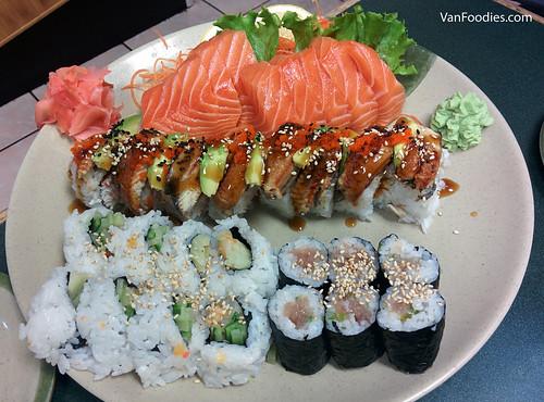 Salmon Sashimi + Stamina Roll + Chopped Scallop Roll + Negitoro Roll