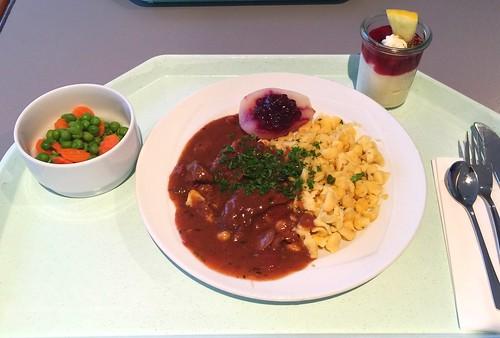 Wild boar goulash with herb spaetzle / Wildschweingulasch mit Kräuterspätzle