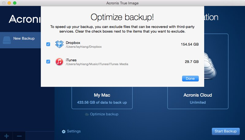Acronis True Image 2015 - Settings - Optimize Backup